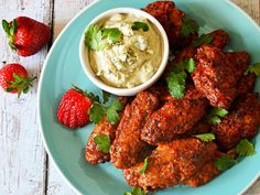 Oven-Baked Strawberry-Chipotle Wings With Avocado-Blue Cheese Dip Recipes i have made or would like to make Baked Chicken Wings, Chicken Wing Recipes, Super Bowl Wings Recipe, Cheese Dip Recipes, Baked Strawberries, Strawberry Recipes, Strawberry Sauce, Serious Eats, Fries In The Oven