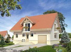 Chaber 3 (134,4 m2) to tradycyjny projekt domu z użytkowym poddaszem i garażem w bryle budynku. Pełna prezentacja projektu znajduje się na stronie: https://www.domywstylu.pl/projekt-domu-chaber_3.php. #chaber #projekty #domów #gotowe #domy #projekt #architektura #wnetrza #interiors #insides #home #houses #domywstylu #mtmstyl #aranżacje