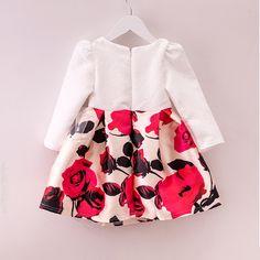 Outono Inverno Vestido de Moda Para Meninas de Algodão Jacquard Longa-Meninas Do Bebê de mangas compridas Roupa Das Crianças 2-6 Anos de Miúdo Vestido de Festa flor