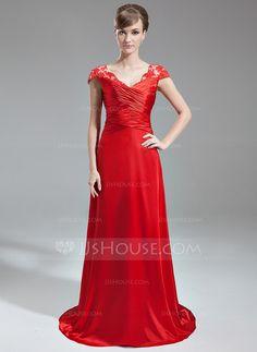 A-Line/Princess V-neck Sweep Train Charmeuse Lace Evening Dress With Ruffle Beading (017005598) - JJsHouse