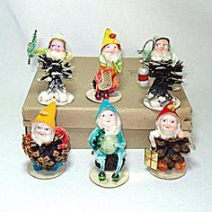Box Spun Cotton Christmas Putz Pine Cone Gnomes Dwarfs