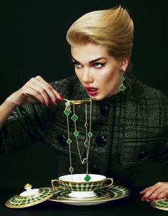 Malachite Alhambra Necklace + Earrings | Van Cleef & Arpels