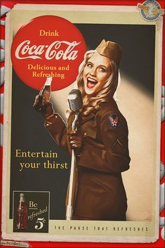 Another one for today, this time a Coca-Cola retro advertisement pinup featuring Rachel in this recreation I really have been wanting to do for some tim. Propaganda Coca Cola, Coca Cola Poster, Coca Cola Ad, Always Coca Cola, World Of Coca Cola, Vintage Signs, Vintage Ads, Vintage Posters, Coca Cola Vintage
