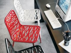 Modloft Clarges Dining Chair - Clarges dining chair features laser cut metal frame in painted finish. Modern Furniture Online, Contemporary Furniture, Modern Contemporary, Sofas, Interior And Exterior, Interior Design, Laser Cut Metal, Stacking Chairs, Dream Apartment