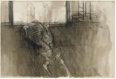 Skeleton #1'David Hockney'  charcoal and gouache on paper