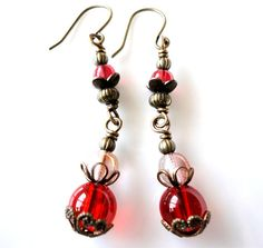 Bascarsija Nights  Cherry Red Wine Red Glass Clear by MajaEarrings, $12.00