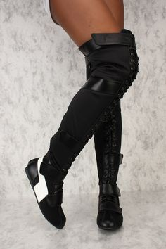 Sexy Black Lace Up Round Toe Thigh High Boots Faux Leather Thigh High Boots, High Heel Boots, Calf Boots, Women's Boots, High Heels, Cute Shoes, Me Too Shoes, Over The Knee Boot Outfit, Boots Store