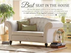 Olivia Eggshell Love seat--Beautiful!