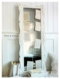Antique white French mirror
