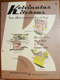"""Plan your kitchern with a choice of 8 new decorator colors"""". Great mid-century modern color choices like my favorite,BERMUDA PINK (featured throughout the catalog pages) for Foodarama and other type (top or bottom freezer or single door model) refrigerator / freezer for food storage, ranges (stoves), ovens, cooking countertops, dishwasher.   eBay!"""