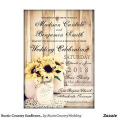 Rustic Country Sunflowers Mason Jar Wedding Invite
