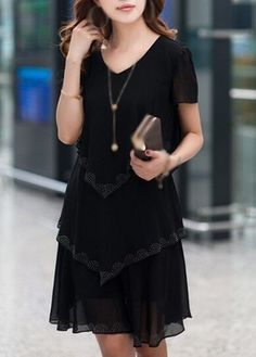 V Neck Short Sleeve Black Tiered Chiffon Dress, dressy, cute and elegant, more than 3000 goods at rosewe.com, new sign up 15% off, check it out.