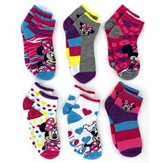 Disney Minnie Mouse Little Girls 6 pk Socks (6-8 (Shoe: 10.5-4), Minnie Hearts Quarter Sock). Wow, perfect gift for Valentine's Day or Easter!  On Sale for $10.99 - great value!