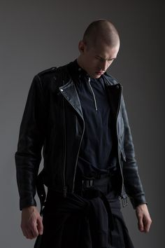 Vintage Leather Motorcycle Jacket, Yohji Yamamoto Punk Zipper Shirt and Yves Saint Laurent by Stefano Piloti Pants. Designer Clothing Dark Minimal Street Style Fashion Skinhead