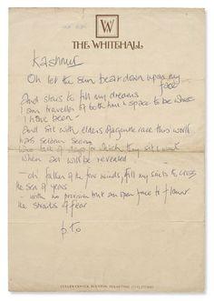 "Robert Plant - handwritten lyrics to ""Kashmir,"" 1975."