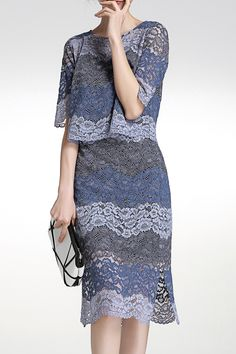 Ombre Color Lace Tee and Skirt Suit