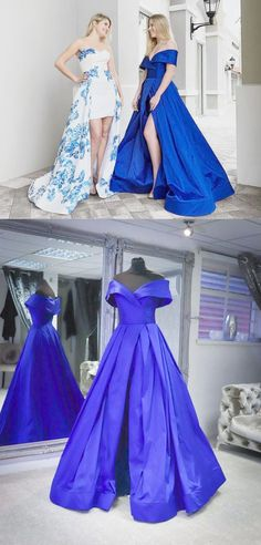 Royal Blue Prom Dresses With Sleeves, Long Prom Dresses With Slit, A Line Prom Dresses Satin, Senior Prom Dresses Off The Shoulder Senior Prom Dresses, Prom Dresses For Teens, Prom Dresses Online, Prom Gowns, Graduation Dresses, Evening Dresses, Best Formal Dresses, Unique Prom Dresses, Royal Blue Prom Dresses