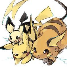 Pichu, Pikachu y Raichu
