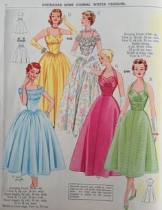 Australian Home Journal - 50's fashion-- The Green one. and the Blue one.