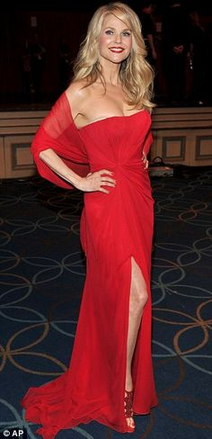 Christie Brinkley in a Pamella Roland dress. Can't believe she is 58!