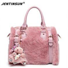New Fashion Lady Leather Handbag Faux Rabbit Fur shoulder Handbag Women Messenger Zipper Bag Crossbody Tote Shoulder Handbag