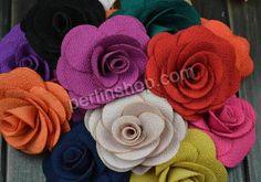 Baumwollsamt Brosche, mit Eisen, Blume, handgemacht, gemischte Farben, 75mm, 20Stücke/Gruppe, verkauft von Gruppe - perlinshop.com