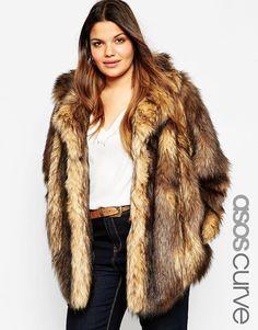 Image 1 ofASOS CURVE Vintage Faux Fur Coat