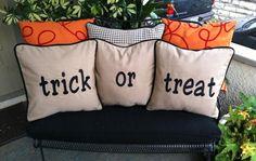 Trick or Treat Pillows LMB Custom Cushions Haunted House Party, Custom Cushions, Trick Or Treat, Kansas City, October, Thanksgiving, Throw Pillows, Holidays, Halloween