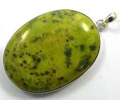 925 silver Natural Stichtite Jasper 27x37mm oval gemstone cute adorable pendant #Handmade #Pendant