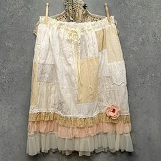 patchwork lace skirt with petticoat~~love