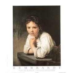 Amazon.com: (16x20) Rembrandt van Rijn Girl At Window Art Print Poster: Home & Kitchen Beautiful :)