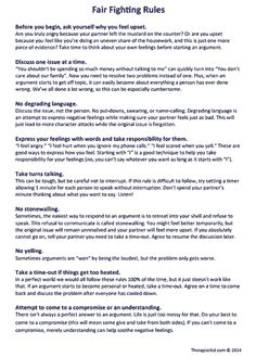 "Fighting Rules (Worksheet Rules for having calm discussions about disagreements -- ""Fair Fighting Rules""Rules for having calm discussions about disagreements -- ""Fair Fighting Rules"" Relationship Therapy, Relationship Repair, Communication Relationship, Relationship Advice, Relationship Fights, Family Communication, Relationship Building, Effective Communication, Fighting Fair"