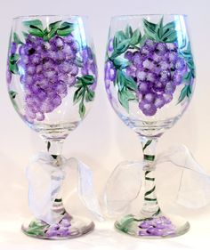 Hand Painted Grapes and Vines Wine Glasses by Brusheswithaview, $30.00