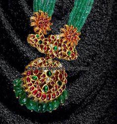 Kundan Ruby Pendant with Emerald Beads - Jewellery Designs