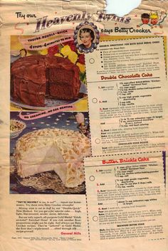 Double Chocolate Cake & Butter Brickel Cake - Old Betty Crocker recipes