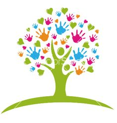 Tree with hands and hearts vector 911828 - by Glopphy on VectorStock�