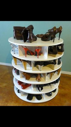 Spinning shoe rack. Need other half to make this for all my shoes!