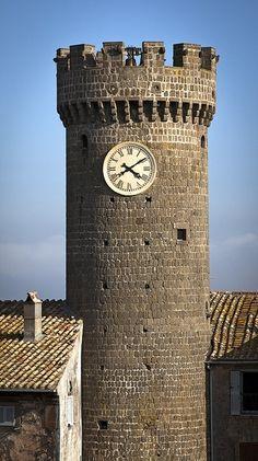 Castle Tower clock, Bagnaia, Lazio, Italy.