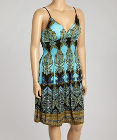 Look what I found on #zulily! Turquoise Arabesque Surplice Dress - Plus by Rouge #zulilyfinds