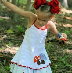 Easy Apron Mushroom Halter Top - Crochet Sizes 2-8