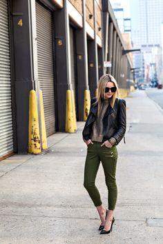Sweater: Michael Kors Pants: H Conscious Collection c/o. Shoes: Christian Louboutin, Leather Jacket: Zara