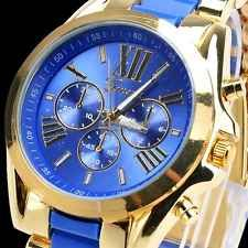 Fashion Classic Men Stainless Steel Wrist Watch Quartz Analog Gold Dial Bracelet