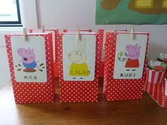 The favour bags were bought from my local cheap shop and a card from a pack of Peppa Pig playing cards was than hand stamped with each of the guests names.