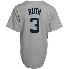Babe Ruth New York Yankees Majestic Grey Throwback Replica Jersey