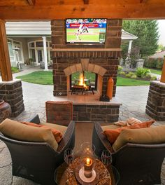 Awesome Outdoor Fireplace Ideas for Your Patio. Patio or backyard area, who does not want it? we can use it as a sitting room, pool, or garden. There are also other alternatives, use it as outdoor f. Outdoor Fireplace Designs, Backyard Fireplace, Fireplace Ideas, Outdoor Fireplaces, Porch With Fireplace, Fall Fireplace, Double Sided Fireplace, Concrete Fireplace, Fireplace Hearth