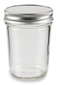Specialty Bottle - 8 oz Eco Mason Tapered Glass Jar with Silver Lid, $0.96 (http://www.specialtybottle.com/glass-jars/mason-jars-canning-jars/8oz-eco8s)