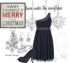 """Merry Christmas ... dance under the snowflakes"" by amabiledesigns on Polyvore"