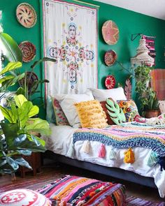This Home May Be the Tropical Boho Bungalow of Your Dreams Bohemian House Decor Boho Bungalow Dreams Home Tropical Bedroom Green, Bedroom Decor, Bedroom Wall, Bedroom Rustic, Bedroom Furniture, Bed Room, Moroccan Bedroom, Wall Decor, Ikea Bedroom