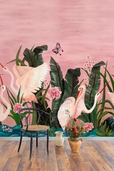 Pink storks wade between long leathery leaves of aquatic plants bearing lotus flowers in turquoise waters at sunrise. This stunning wallpaper mural was designed by Laura Torroba. Top 10 Wallpapers, Stunning Wallpapers, Beautiful Wallpaper, Bird Wallpaper, Print Wallpaper, Wallpaper Murals, Pink Backdrop, Believe, Pink Bird