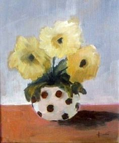 Original acrylic painting  yellow white flowers  by VESNAsART